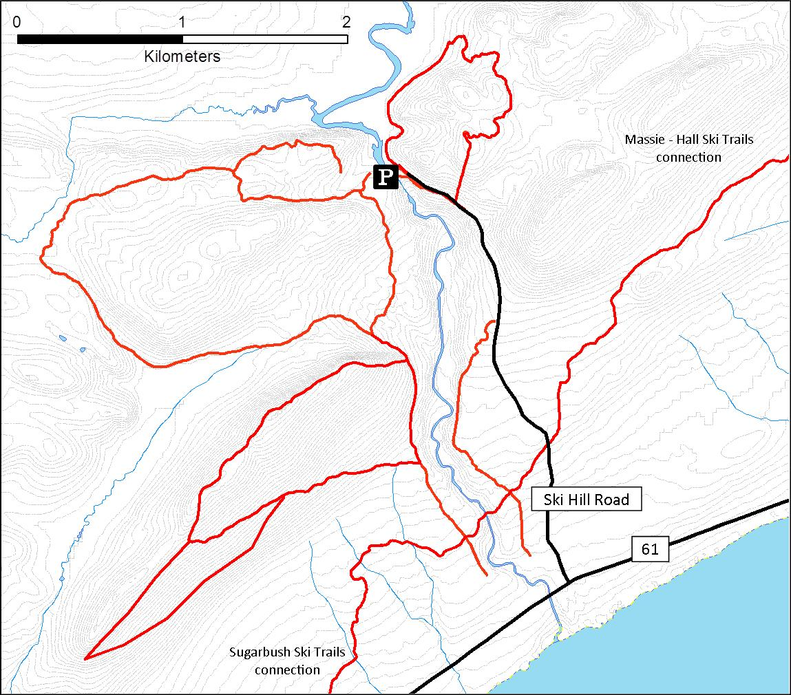 A map of XC ski trails near Lutsen Mt.