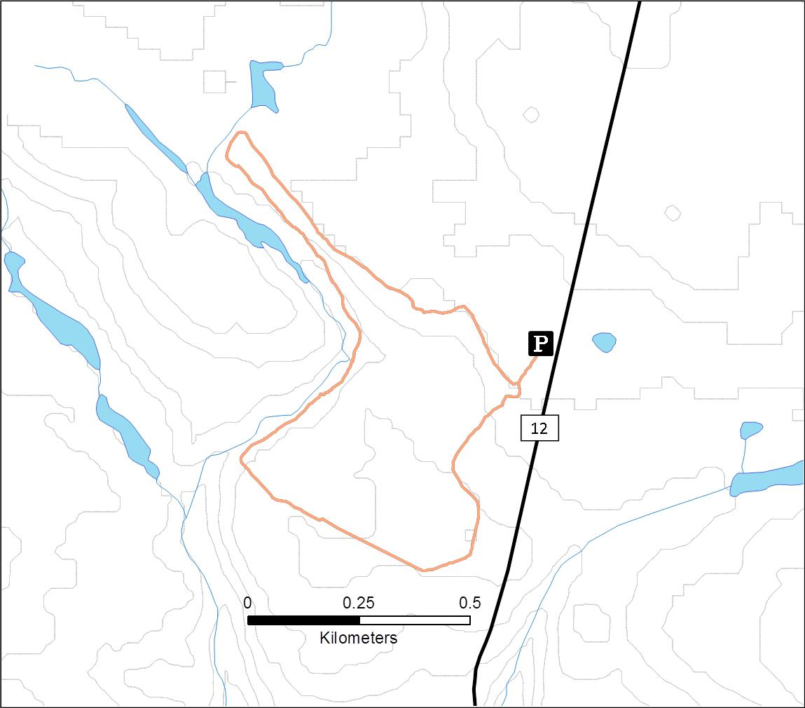 A map of the George Washington Pines Winter Recreation Trail.
