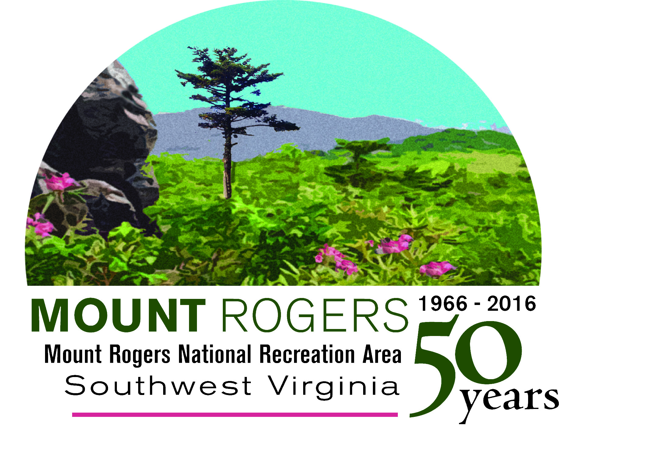 Logo for the 50th Anniversary Celebration of Mt. Rogers NRA