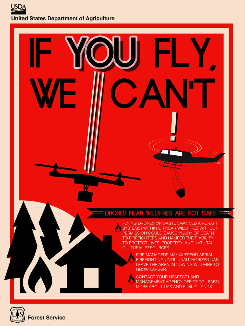Image: with wording if you fly we cant showing a drone and a helicopter