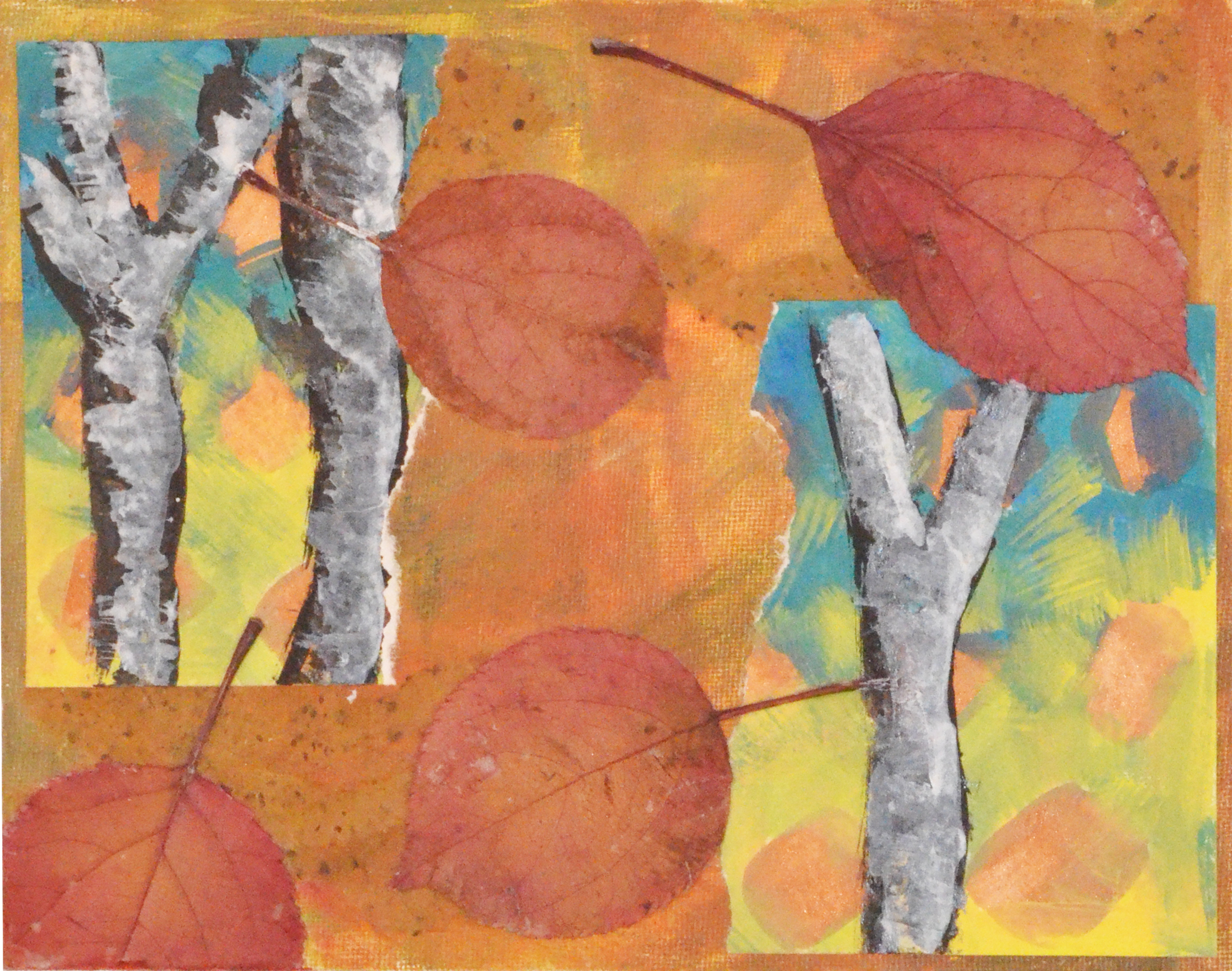 An original painting of birch trees.