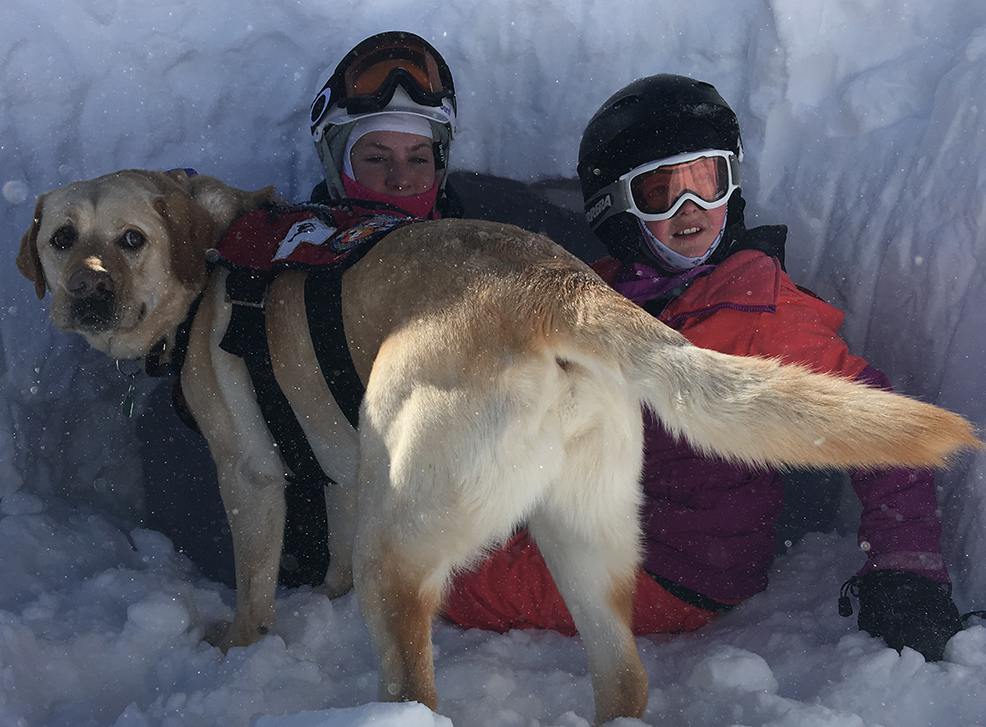 2 children hiding in a snow cave with a labrador retriever avalanche dog