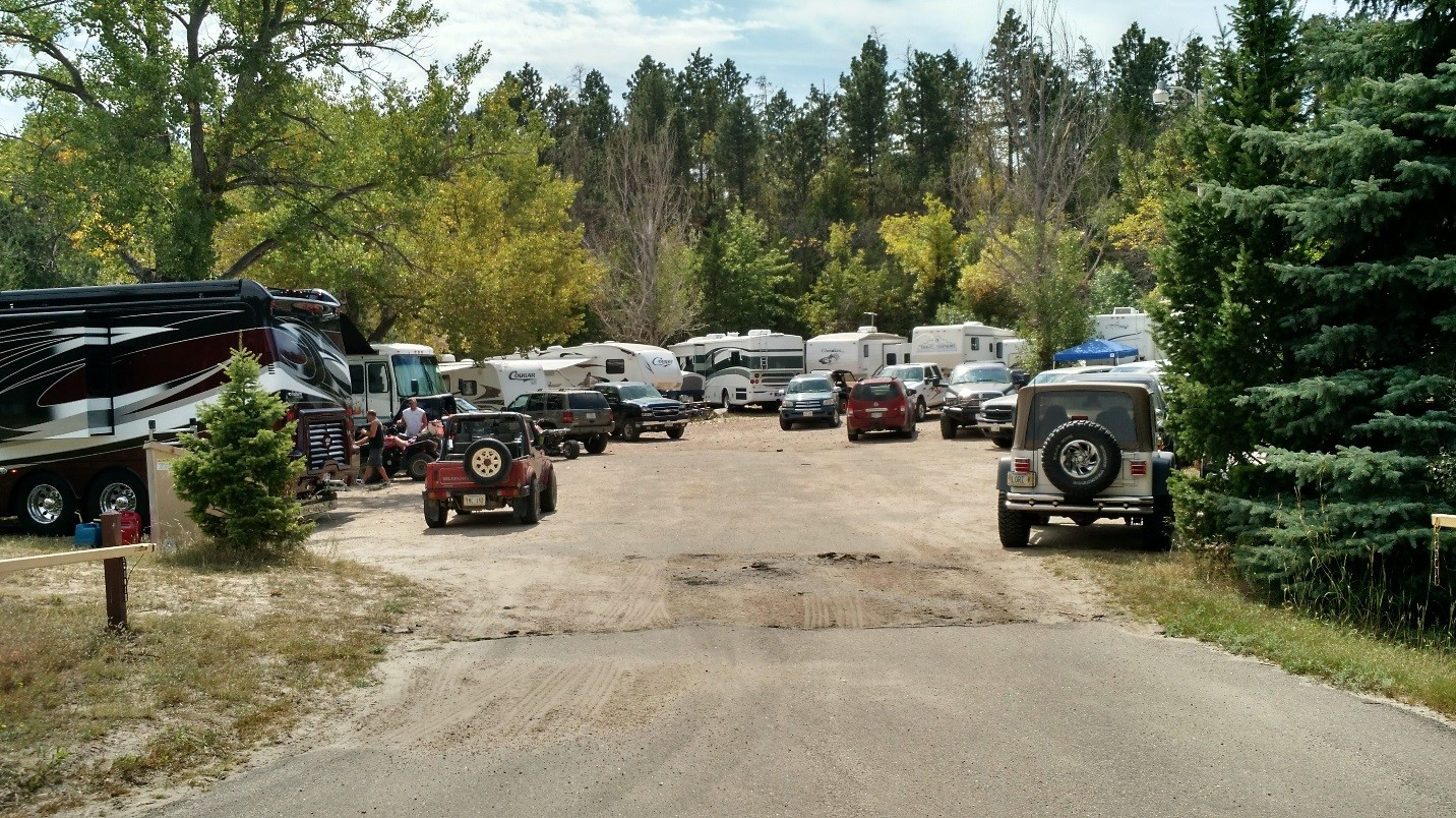 The group campground filled to the brim with RVs.