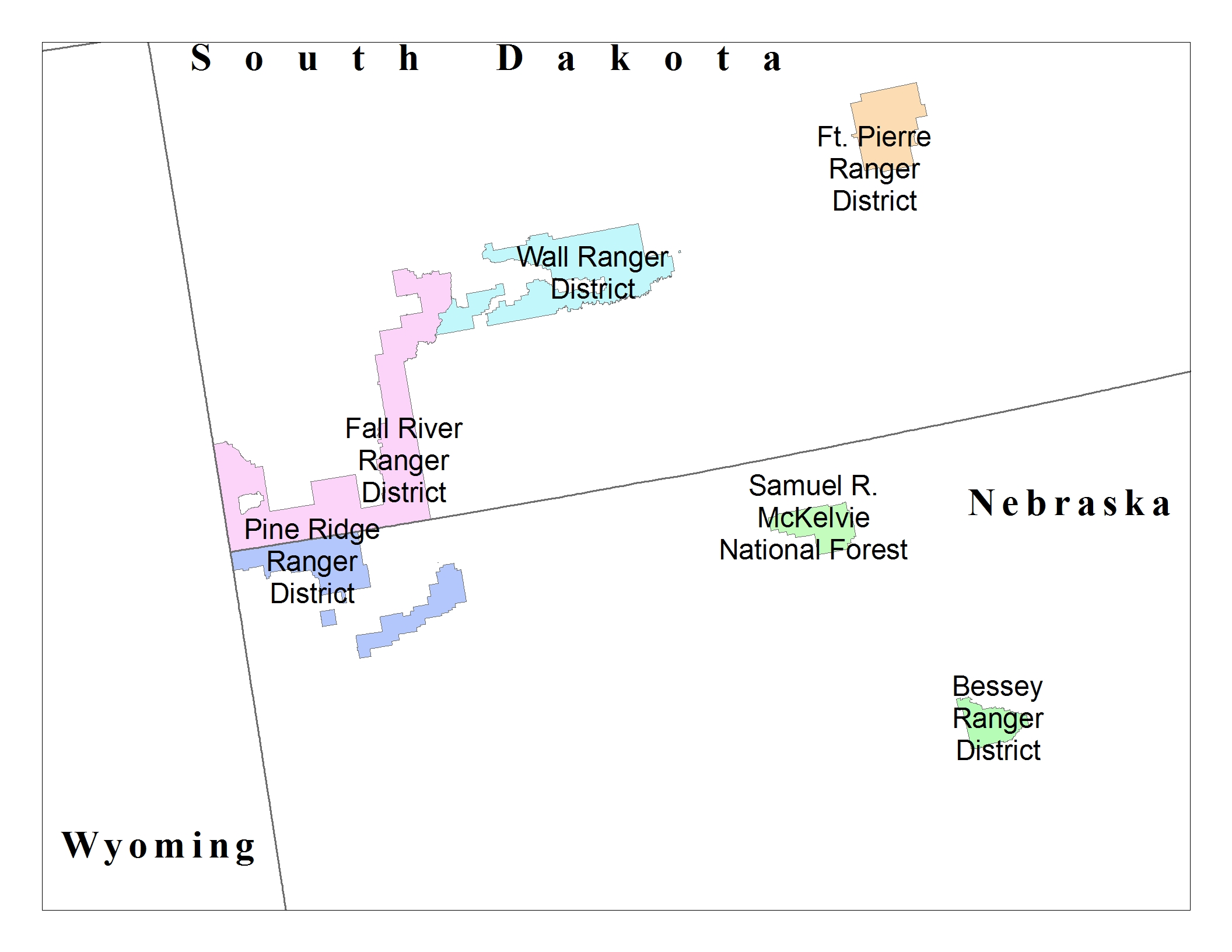 Map of Ranger District boundaries