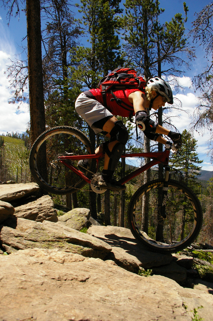 Mountain biking on difficult trails with lots of rocks