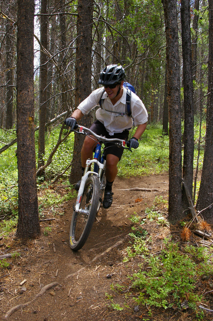 Mountain biking on easy trails