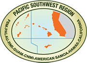 Illustration of the Pacific Southwest Region depicting California and the Pacific Islands.