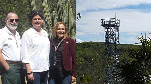 The Institute, DNER and NEON, inaugurating the new climate tower in Guánica dry forest.