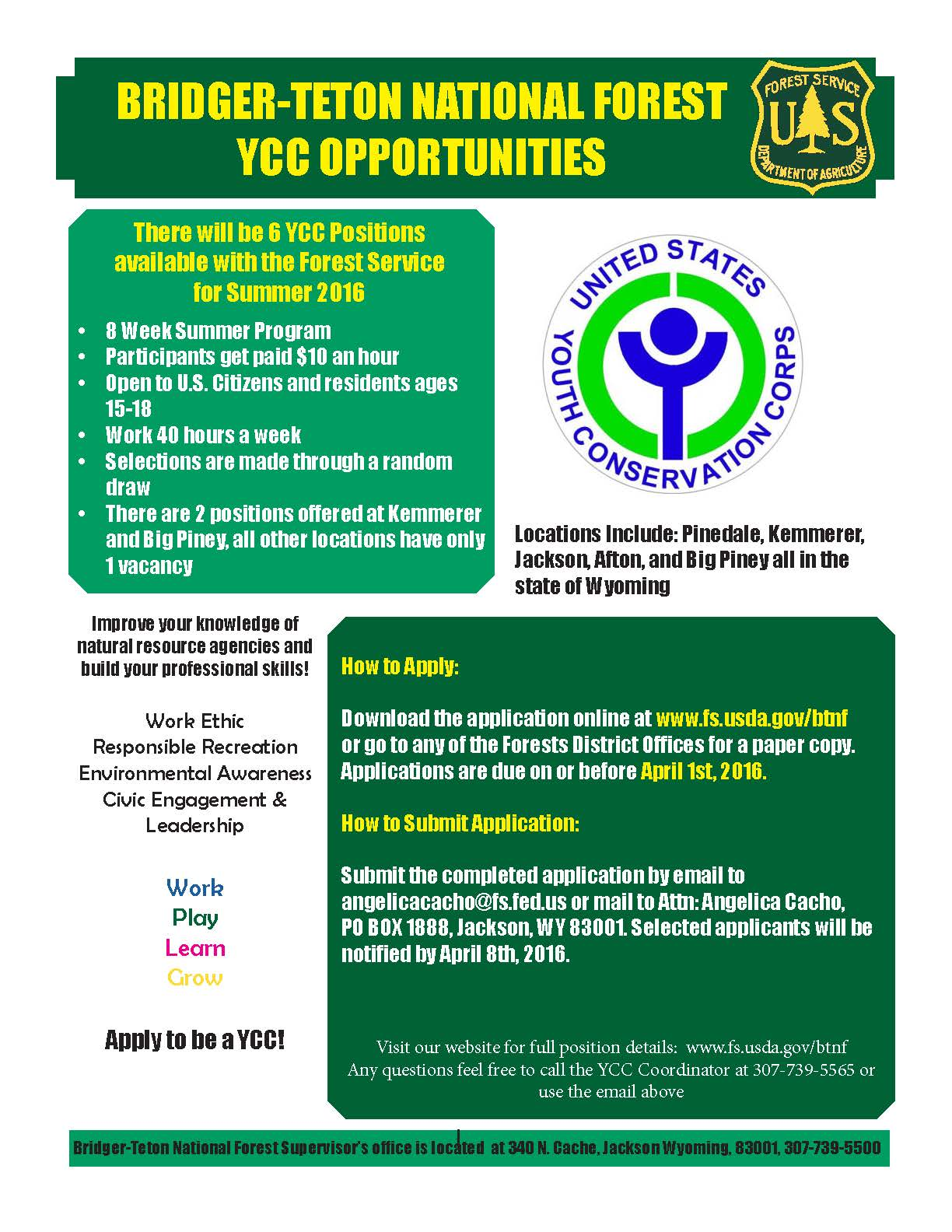 YCC Information Flyer for Summer 2016