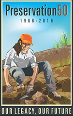 Logo: Preservation 50 1966-2016 drawing of an archeologist Our legacy, our future
