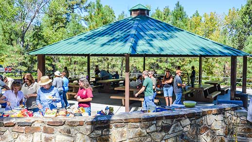 Group gathering at Thumb Butte Picnic Area