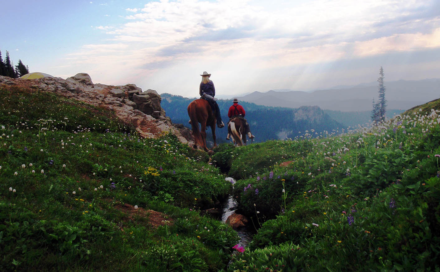 Riders in Goat Rocks Wilderness