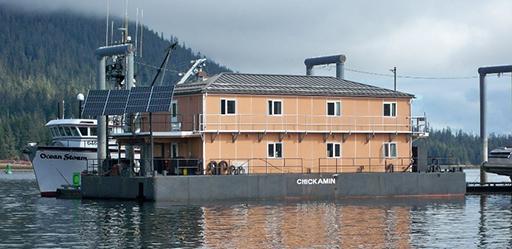 Chickamin Barge mobile float camp. 2080 Watt solar array combined. Taken in Petersburg, AK 2009.