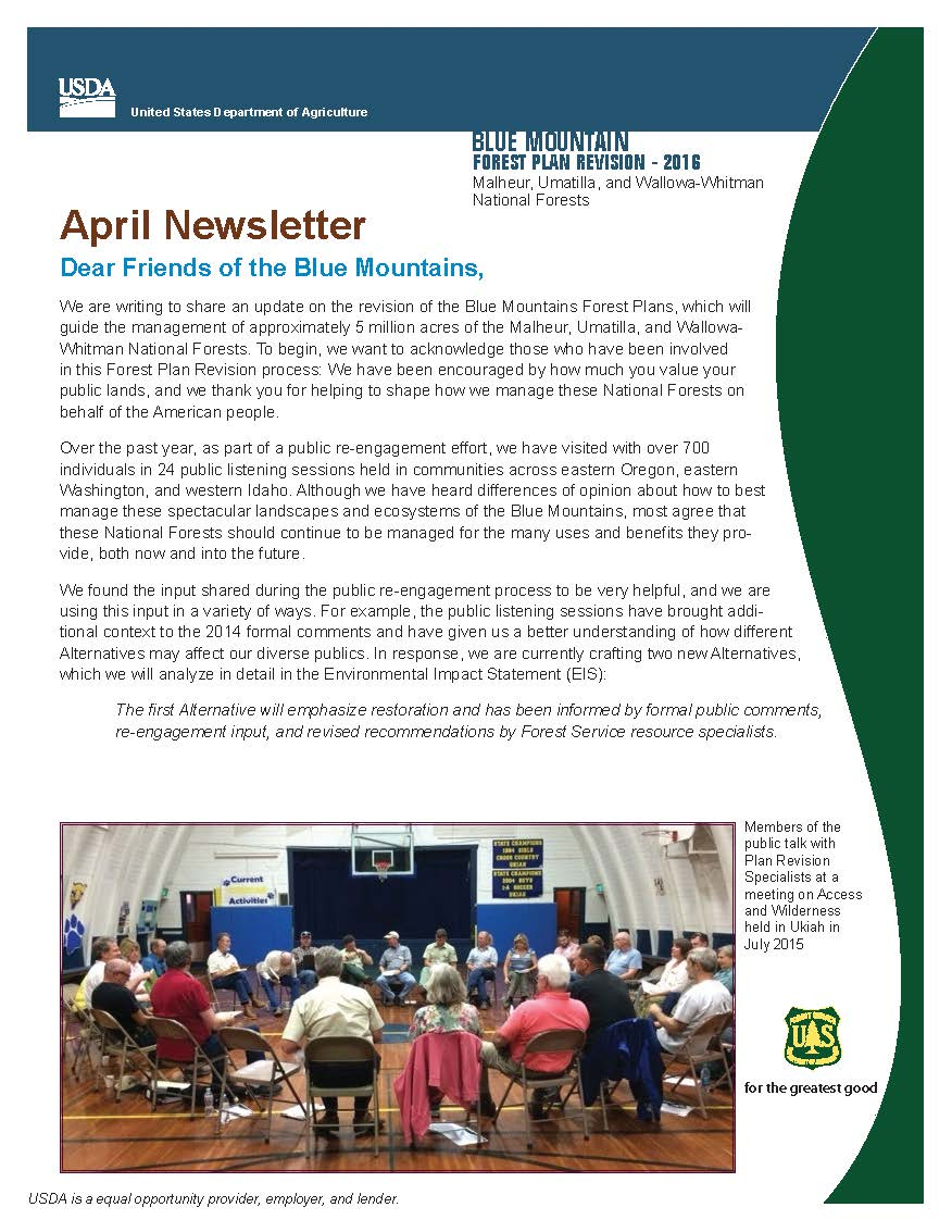 This is an image of the first page of the April 2016 Blue Mountains Forest Plan Revision Newsletter.