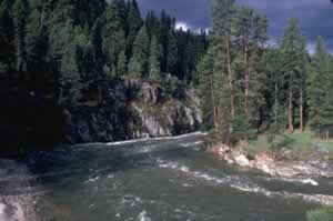 Photo of a river bend in the South Fork of the Payette River