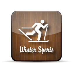 wooden button for winter sports