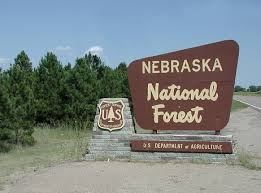 The entrance sign to the Nebraska National Forest at Halsey.