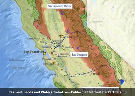 Map illustration of California Headwaters