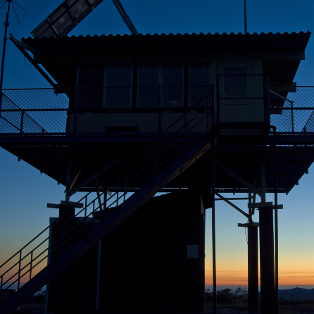 A lookout tower at sunset