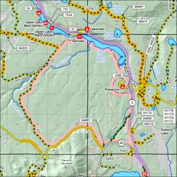 Map of Pine Grove Quiet Area seasonal closure
