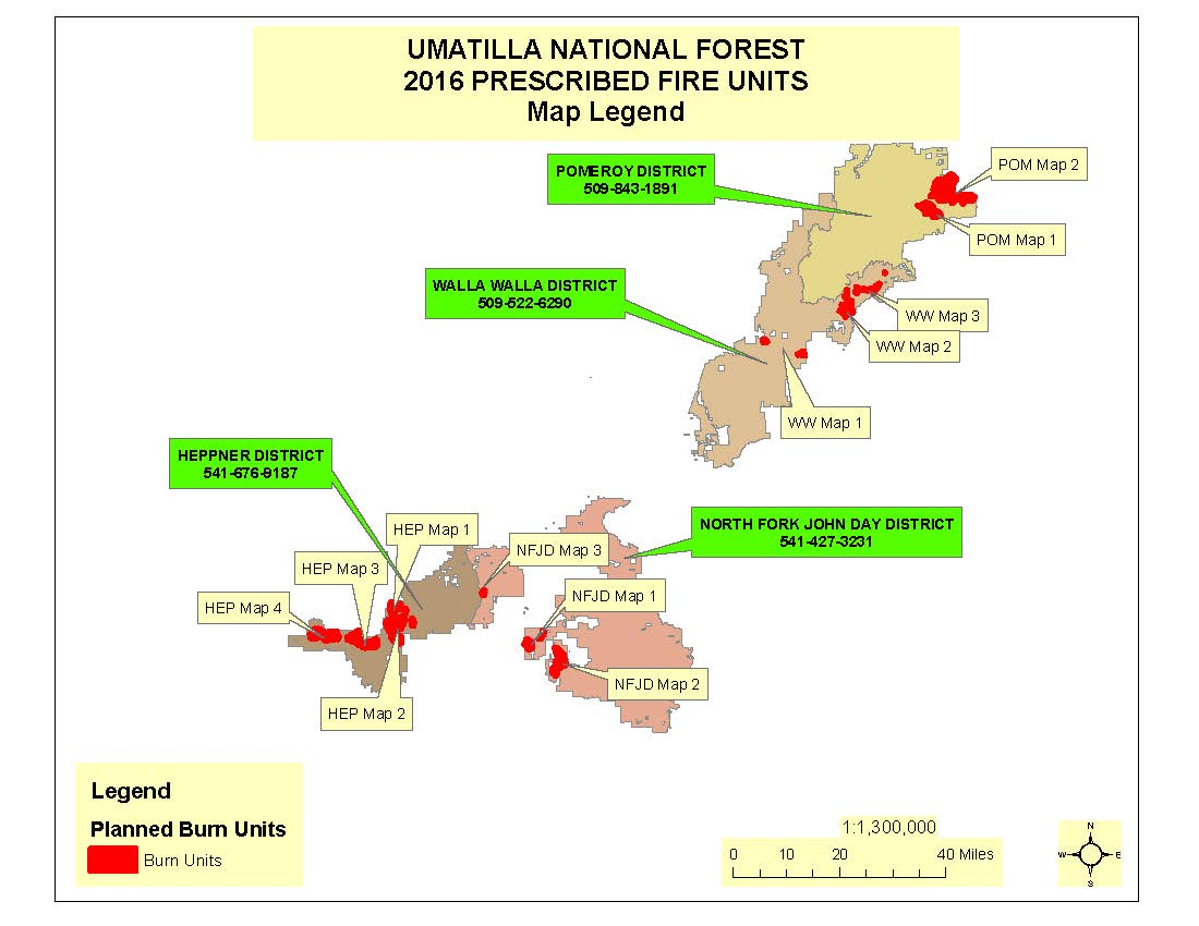 2016 Prescribed Fire Project Map