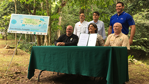 Interagency MOU to coordinate information management and provide guidance on protected areas in Puerto Rico, signed in Cañón Las Bocas, Barranquitas.
