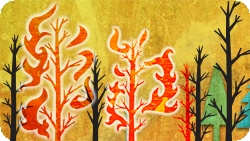 An illustration of fire burning near some trees.