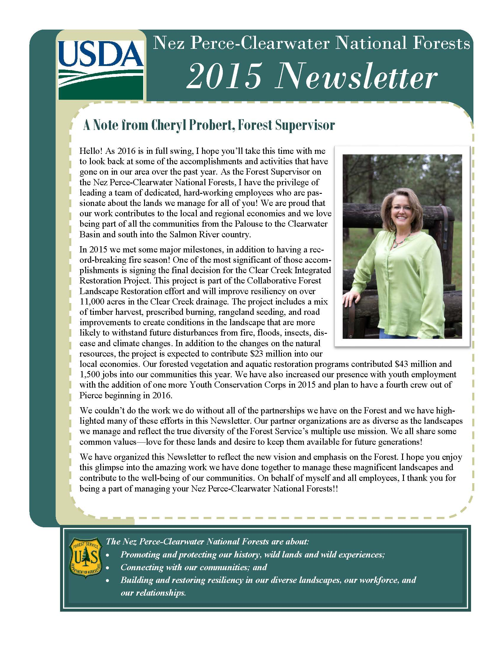 Cover of forest newsletter with photo of Cheryl Probert