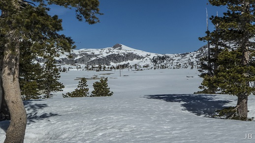 Lake Aloha remains covered with snow as of mid-May 2016.