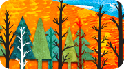 Illustration of trees in the forest.