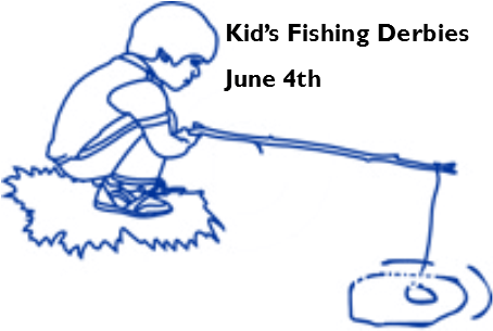 lineart of child fishing and date of Kids Fishing Derby