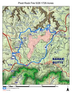 Map of the Pivot Rock Fire May 29, 2016