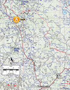 Location map of the Jack Fire near Happy Jack, May 31, 2016
