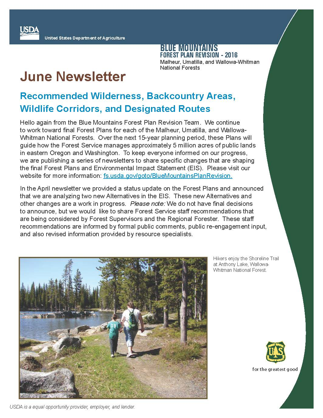 June 2016 Newsletter Blue Mountains Forest Plan Revision