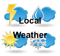 weather clipart with local weather text overlay