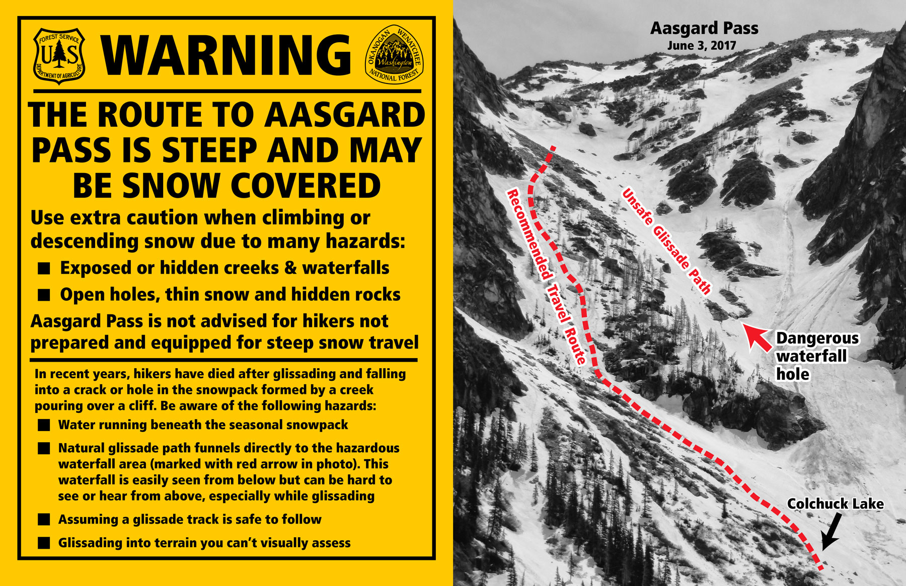 Warning sign for Aasgard Pass