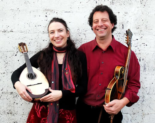 Caterina Lichtenberg and Mike Marshall with instruments