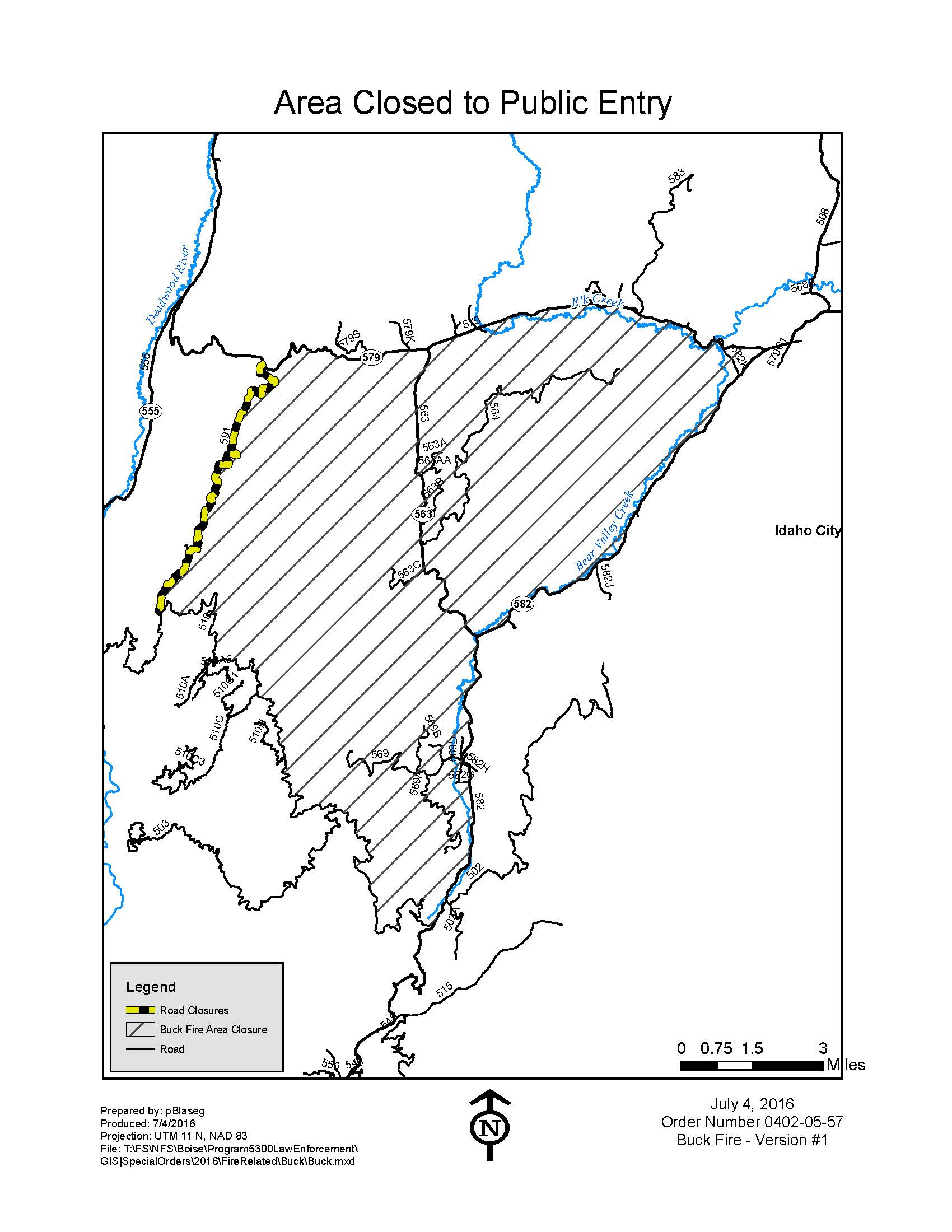 photo of Buck Fire closure map