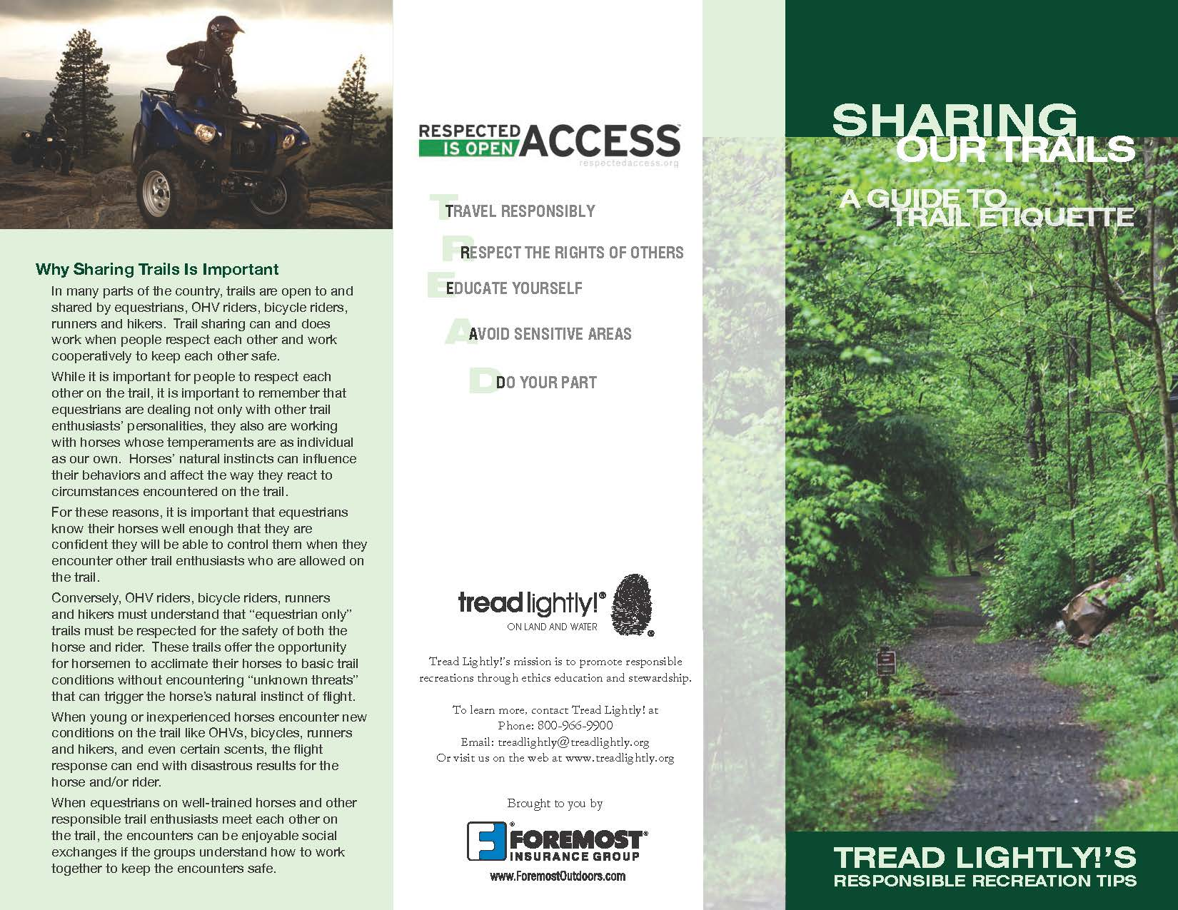 Tread Lightly on roads and water informational flyer