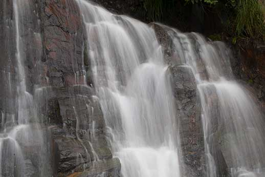 A waterfall in Prince William Sound