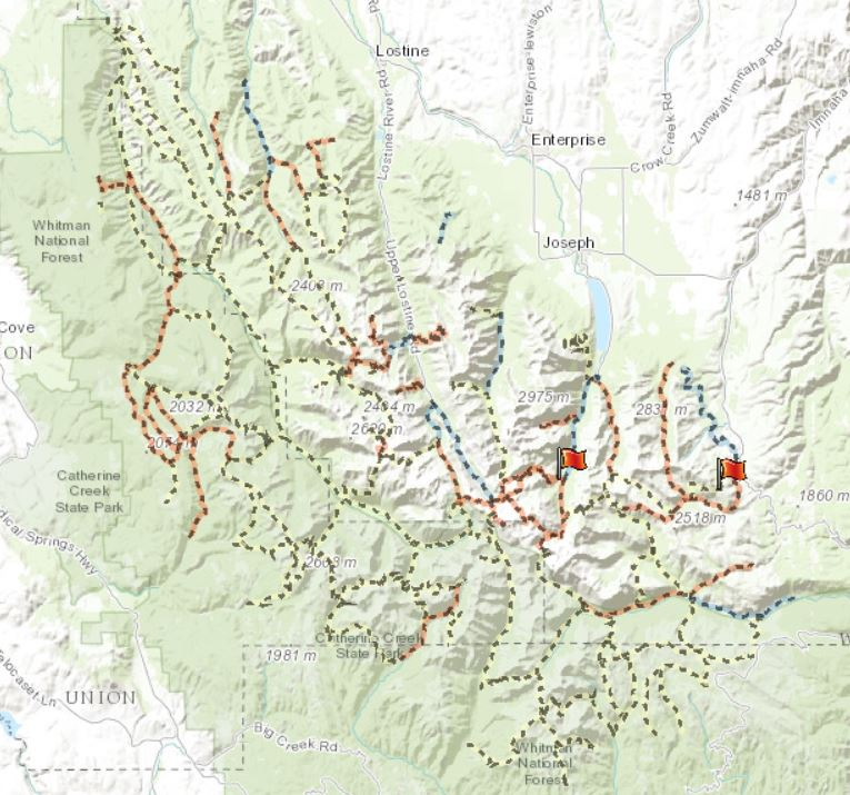 Interactive Trails Map for Eagle Cap Wilderness