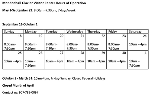 Mendenhall Hours of Operation