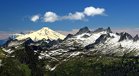 Mt Baker and Mt. Chaval from Green Mountain. Photo by Gary Paull, US Forest Service