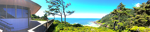 a panoramic view from the deck of the Cape Perpetua Visitor Center