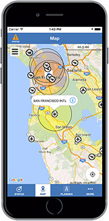 B4UFly app displaying restricted flying zones on a smartphone screen