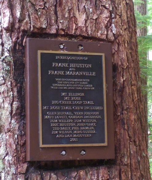 Mt Rose Trail plaque honoring volunteers on a tree along the trail.