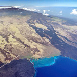 Aerial view of landscape in Hawaii.