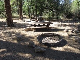 A view of the shaded picnic area and fire ring at Green Spot Equestrian Group Campground.