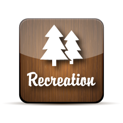 Wooden button with trees and the word recreation.