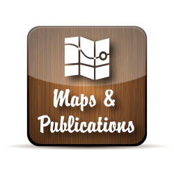Wooden button with maps and publications text